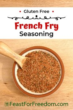 French Fry Seasoning – gluten free recipe French Fry Seasoning – Feast for Freedom – A delicious recipe for a homemade gluten free spice mix that will liven up fries chips popcorn and so much more. Homemade Dry Mixes, Homemade Spice Blends, Homemade Spices, Homemade Seasonings, Spice Mixes, Chip Seasoning, Popcorn Seasoning, Seasoning Mixes, Seasoning Recipe