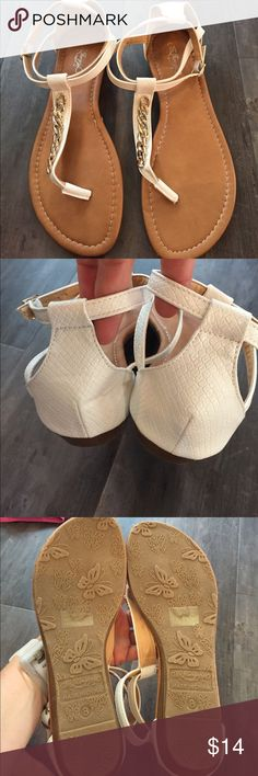 Brand new sandals.  White with gold detail Brand new sandals.  Sz8, cute details! De Bengonia Shoes Sandals