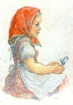Marie Kvěchová-Fischerová Vintage Children, Gnomes, Childhood Memories, Vintage Art, Disney Characters, Fictional Characters, Disney Princess, Retro, Drawings