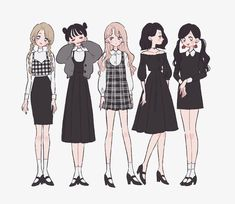 clothes in anime Art Manga, Anime Art Girl, Character Design Cartoon, Character Art, Animation Character, Character Sketches, Cute Art Styles, Drawing Clothes, Anime Outfits