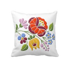 Kalocsia Embroidery - Hungarian Folk Art decorative Pillow.... Colorful floral motif to brighten up the home! Same motif has been beautifully used on kitchen towel too.