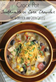 This Southwestern Corn Chowder is a comfort food classic, with a delicious, fun little kick! So easy – just mix everything together right in your crock pot!