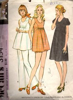 McCalls 3154 Scoop Neck Maternity Dress TunicTop Pants and Bloomers womens vintage sewing pattern by mbchills Maternity Wear, Maternity Fashion, Maternity Dresses, Maternity Pants, Vintage Sewing Patterns, Clothing Patterns, Dress Patterns, 1970s Clothing, Vintage Clothing