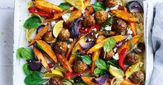 This fuss-free flavour packed Greek-style lamb meatball tray bake ticks all the boxes. Tray Bake Recipes, Baking Recipes, Lamb Meatballs, Baked Vegetables, Greek Recipes, Main Meals, Tray Bakes, Quick Easy Meals, Vegetable Recipes