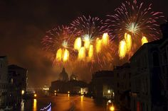 Fireworks at the Festa del Redentore or Festival of the Redeemer in Venice, Veneto, Italy, Europe