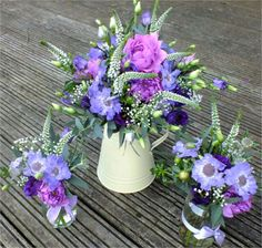 Cream jug and jam jars with country pinks and purples from bloom bloom  Love these colours for flowers on the tables