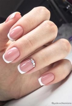 27 Fresh French Nail Designs: French Manicure at Home doen - Nageldesign French Nails, French Manicure Kit, French Manicure Designs, Glitter French Manicure, Acrylic Nail Designs, Nail Art Designs, French Manicures, Nails Design, Manicure Rose