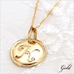 Rakuten: Initial necklace Cem Kelly coin pendant- Shopping Japanese products from Japan