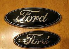 "2011-2016 Ford Explorer sport, Gloss black 9"" grill & 7"" lift gate emblems 3D"