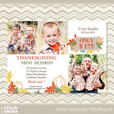 Mini Session Template - Photography Marketing Board - Thanksgivings Mini Session 030 - C096, INSTANT DOWNLOAD