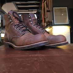 redwingshoestoreamsterdam: Last week a customer came to tease us with a pair of Red Wing Shoes 8115 Iron Ranger in Copper rough & tough. Unfortunately this color way is not in the European Collection. Would you like to see this exact style in our collection?   http://ift.tt/180OFjM   http://ift.tt/1K6A8Ns
