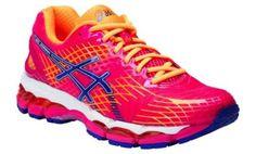 Asics Gel Nimbus 17 Women's Running Shoes from Amart Sports at Crossroads Homemaker Centre Asics Running Shoes, Pink Running Shoes, Sports Shoes, Workout Accessories, Sports Brands, Pink Blue, Sportswear, Footwear