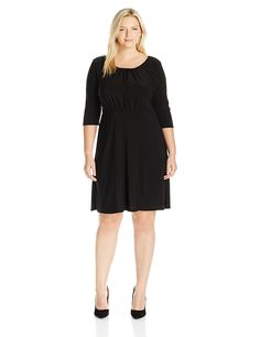 Star Vixen Women's Plus Size Elbow Sleeve Ity Knit Short Skater Waist-Seam Dress with Scoop Neckline and 'X' Crossback Detail -- Discover this special product, click the image : Trendy plus size clothing Trendy Plus Size Clothing, Plus Size Outfits, Casual Dresses, Dresses For Work, Knit Shorts, Vixen, Neckline, Stars, Knitting