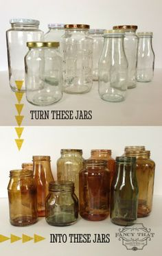 DIY Color Tinted Glass Jars