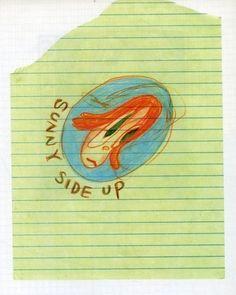 """""""Sunny Side Up"""". Dibujo artístico, realizado por la artista japonesa, Yoshimoto Nara. Sobre un papel simple de escritura se realizó con crayones una caricatura."""