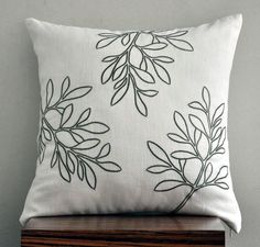 "18"" x 18"" Cream Linen Decorative Pillow Cover with Green Floral Embroidery"