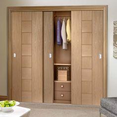 Thruslide Messina Oak Flush 3 Door Wardrobe and Frame Kit - Prefinished - Lifestyle Image.    #interior #wardrobe