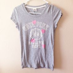 VS Pink shirt Gray Pink University shirt. Minimal wear on the shirt as shown on the 2nd pic with the heart PINK Victoria's Secret Tops