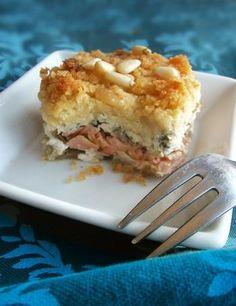 Crumble de saumon basilic-pignons