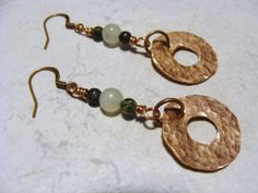 Hammered Copper Washer Earrings   jeweledstrands - Jewelry on ArtFire