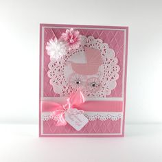 New baby girl card baby pram baby carriage by BellaCardCreations, $4.50