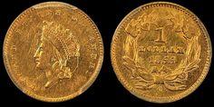 PQ Dollars has this item on Collectors Corner - 1855-C G$1 AU55 PCGS