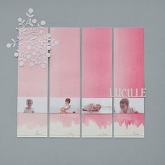 Lucille Scrapbook Layout by Lulugribouille.  Watercolor was used on cardstock to create a lovely pink effect!  Cardstock makes a great canvas for watercolor because of it's sturdiness.  Give it a try with Core'dations cardstock, sold at www.cardstockshop.com.