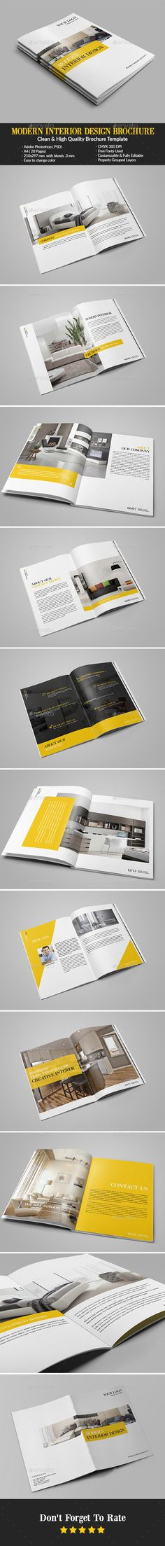 Clean Interior Design Brochure Print templates, Brochures and - interior design brochure template
