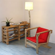 Pallet shelving and chair- So Clever.  Now, I only need to collect pretty pallets like these.  LOVE it.