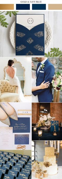 2017 trending navy blue and gold wedding color ideas