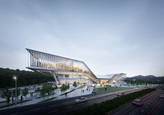 Convention Center on Behance Cantilever Architecture, Auditorium Architecture, School Architecture, Architecture Plan, Modern Architecture House, Concept Models Architecture, Futuristic Architecture, Public Library Design, Events Place