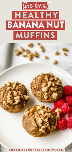 Healthy Banana Nut Muffins | Healthy Baking Recipes - Looking for the perfect make-ahead snack the entire family will love? These muffins are moist, delicious, and gluten-free. This easy banana muffin recipe comes together in under 30 minutes and uses only one bowl. Make a batch to freeze for a quick healthy breakfast or after school snack. Organize Yourself Skinny | Healthy Banana Recipes | Healthy Desserts Recipes | Healthy Muffin Recipes | Weight Loss Recipes #muffins #snackrecipes #healthy Banana Muffin Recipe Easy, Healthy Banana Recipes, Healthy Desserts For Kids, Banana Nut Muffins, Skinny Recipes, Healthy Baking, Eating Healthy, Easy Desserts, Healthy Meals