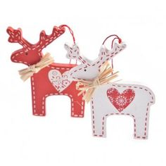 Gisela Graham Christmas Set of 2 Nordic Wooden Deer Decorations