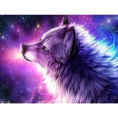 5D Diamond Painting Star Galaxy Wolf - 30x40cm