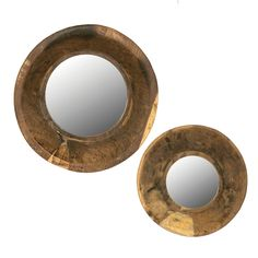 2 Piece Round Mirror with Wood Bowl Frame Set