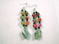 Glass and seed beads with a stone dangle.
