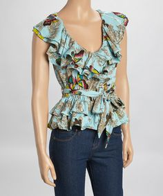 Love this Blue Butterfly Ruffle Peplum Top by Fashion Web on #zulily! #zulilyfinds