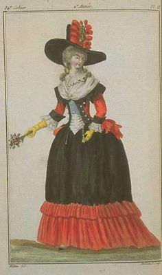 Magasin des Modes, October 1787. OMG this dress! This is gorgeous and stunning and unusual. NEEEEEED.