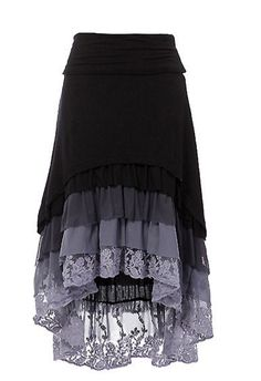 Ruffle Hi-Low skirt High-low hem layered ruffle skirt with fold over waist band. Chic: