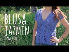 Tutorial Easy Crochet Blouse Jasmine - All sizes Crochet Beanie Pattern, Crochet Wool, Quick Crochet, Learn To Crochet, Crochet For Kids, Crochet Patterns, Crochet Summer Tops, Summer Knitting, Crochet Crop Top