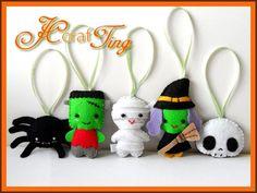 Felt Halloween Ornaments PDF pattern Set B Spider by jcCrafTing