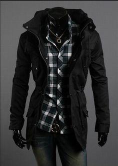 2014 New Men Jacket Coat Fashion Clothes Hot Sale Overcoat Outwear 4 Colors 4 Sizes Stylish Mens Outfits, Cool Outfits, Fashion Outfits, Men's Fashion, Guy Outfits, Fashion 2020, Fashion Clothes, Trench Coat Men, Men Coat