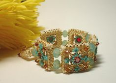 Alhambra Tiles Beadwoven Cuff Bracelet with by PeregrineBeader