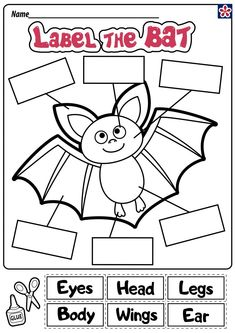 Label the Bat This bat anatomy worksheet requires the labels be cut-out and then pasted in the proper spot to have the correct body parts pointing where they belong on the bat. Bat Activities For Kids, Color Worksheets For Preschool, Kindergarten Coloring Pages, Kindergarten Colors, Halloween Worksheets, Kindergarten Math Activities, Animal Activities, Literacy, Bat Anatomy