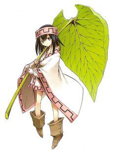 Kororo - Shaman King Lily pad, head band, japanese robe, gloves, japanese coat, suede boots.