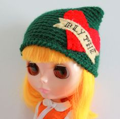 Bottle Green Tattoo Cat Ear Beanie - A Crochet Blythe Doll Hat for Kenner and Neo - Blythe Hat  - Blythe Clothes - Eriko's Emporium by ErikosEmporium on Etsy - £5.00
