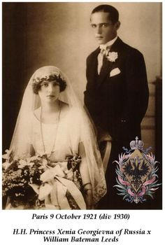 Marriage of Princess Xenia Georgievna of Russia and William Bateman Leeds. 1921. They later divorced.