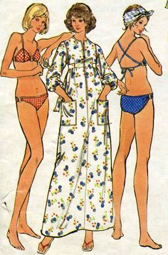 Vintage 70s Butterick 3026 Misses Ring Detail Bikini Swimsuit and Coverup Sewing Pattern