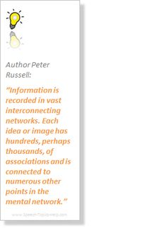 Peter Russell Author delineates the correlating network of our topic for informative speech hints