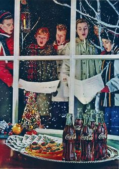 Caroling - Vintage print ad from 1959 for Coca-Cola Christmas Style, Merry Christmas, Christmas Scenes, Xmas, Christmas Poster, Father Christmas, Vintage Christmas Images, Vintage Holiday, Christmas Pictures